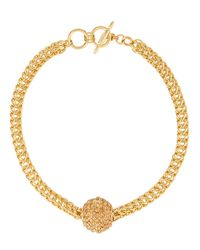 Kenneth Jay Lane - Blue Golden Disco Ball Necklace - Lyst