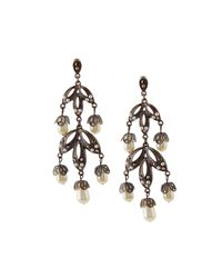 Lydell NYC - Gray Hematite Crystal & Simulated Pearl Chandelier Earrings - Lyst