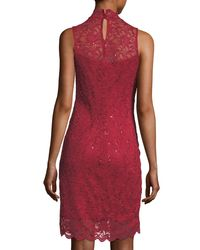 Neiman Marcus - Red Mock-neck Lace Cocktail Sheath Dress - Lyst