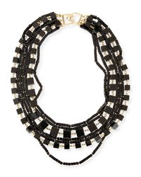 Kenneth Jay Lane - Black Multi-strand Beaded Cube Necklace - Lyst