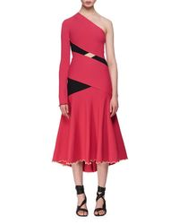 Proenza Schouler - Red One-shoulder Exposed Bandage Midi Dress Fuchsia - Lyst