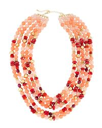 Lydell NYC - Multi-strand Necklace W/ Pearls Pink - Lyst