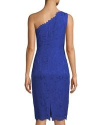 Eliza J Blue One-shoulder Lace Sheath Dress