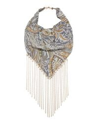 Lydell NYC - Multicolor Paisley Bandana Necklace W/ Chain Trim - Lyst