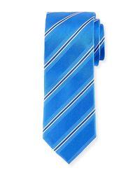 Bugatchi - Blue Stripe-weave Silk Tie for Men - Lyst