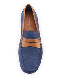 Donald J Pliner - Blue Vinco Leather-trim Suede Driver for Men - Lyst