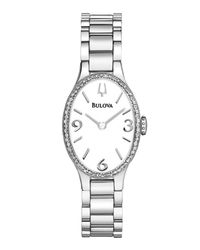 Bulova - White 21mm Oval Bracelet Watch W/ Diamond Bezel - Lyst
