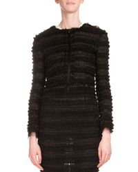 Givenchy - Black Micro-ruffle Embroidered Jacket - Lyst