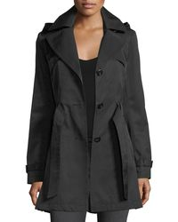 Via Spiga - Black Single-breasted Hooded Trench Coat - Lyst