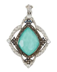 Armenta - Blue New World Kite Cross Enhancer W/ Turquoise Doublet & Diamonds - Lyst