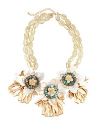 Lydell NYC - Metallic Oversized Flower Statement Bib Necklace - Lyst