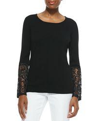 Sofia Cashmere - Black Cashmere Crochet-sleeve Sweater - Lyst