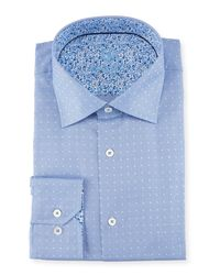 Bugatchi - Blue Dotted Dress Shirt for Men - Lyst