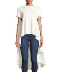 English Factory - White Solid Dress-back Crewneck Tee - Lyst