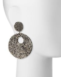 Kenneth Jay Lane - Gray Hematite Seed Bead Drop Earrings - Lyst