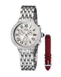 Gv2 - White 37mm Marsala Chronograph Watch W/ Diamonds & Leather Strap Gold - Lyst
