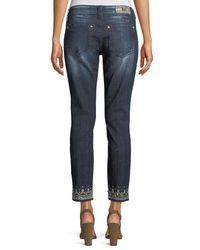 Miss Me Blue Embellished Skinny Cropped Jeans