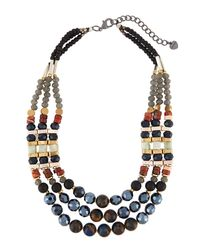 Nakamol - Blue Mixed Stone Triple-layer Statement Necklace - Lyst