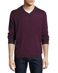Neiman Marcus - Black Cashmere V-neck Pullover Sweater for Men - Lyst