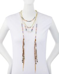 Nakamol - Purple Multi-row Beaded Suede Lariat Necklace - Lyst