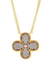 Freida Rothman - Metallic Double-strand Pave Crystal Clover Pendant Necklace - Lyst