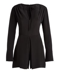 Derek Lam - Black Long-sleeve Split-neck Romper - Lyst