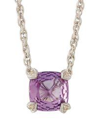 Judith Ripka | Purple Cushion-cut Amethyst & Diamond Pendant Necklace | Lyst