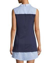 English Factory - Blue Sleeveless Knit-bodice Combo Shirtdress - Lyst