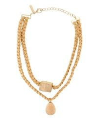 Panacea - Natural Double-row Braided Suede Choker Necklace W/ Druzy Stones - Lyst