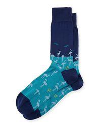 Bugatchi - Blue Flamingo Cotton-blend Socks for Men - Lyst