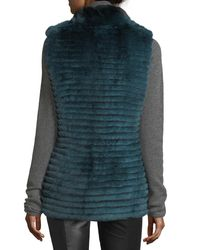 Gorski - Blue Quilted Rabbit Fur Reversible Down Vest - Lyst