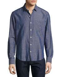 Culturata - Blue Melange Linen Sport Shirt for Men - Lyst