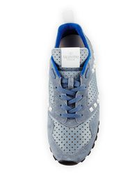 Valentino - Blue Rockstud Perforated Platform Sneaker for Men - Lyst