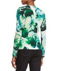 ESCADA - Green Long-sleeve Leaf-print Cardigan - Lyst