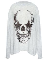Lauren Moshi - Gray Hollis Star Eye Skull L/s Cashmere Pullover Sweater W/thumbholes - Lyst