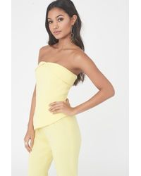 Lavish Alice - Bardot & Peplum Straight Leg Jumpsuit In Yellow - Lyst