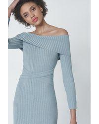 Lavish Alice - Criss Cross Strapless Dress In Powder Blue Knit - Lyst