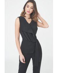 Lavish Alice - Black Asymmetric Fold Over Tailored Jumpsuit - Lyst