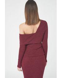 Lavish Alice - Red Rib Knit Asymmetric Top - Lyst