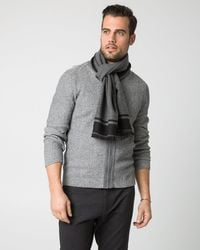 Le Chateau - Gray Stripe Woven Scarf for Men - Lyst