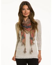 Le Chateau - Blue Abstract Print Voile Scarf - Lyst
