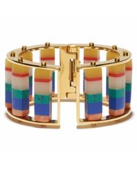 Lele Sadoughi - Blue Striped Hinged Barrel Slider Bracelet - Lyst