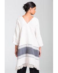 Lemlem - White Yohannes Blanket Poncho - Lyst