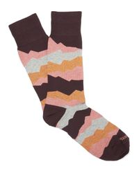 Etiquette - Red Seismic Patterned Socks for Men - Lyst