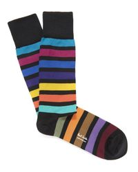 Paul Smith | Black Bright Block Stripe Socks for Men | Lyst
