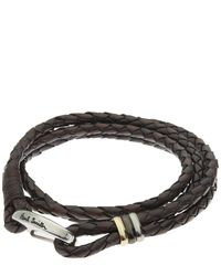 Paul Smith - Brown Woven Leather Wrap Bracelet - Lyst