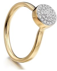 Monica Vinader | Metallic Gold Vermeil Diamond Ava Button Ring | Lyst