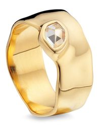 Monica Vinader | Metallic Gold Vermeil White Topaz Wide Siren Band | Lyst