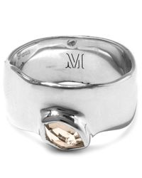 Monica Vinader | Metallic Silver White Topaz Wide Siren Band | Lyst