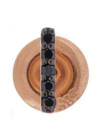 Kismet by Milka | Metallic Gold Black Diamond Stick Stud Earring | Lyst